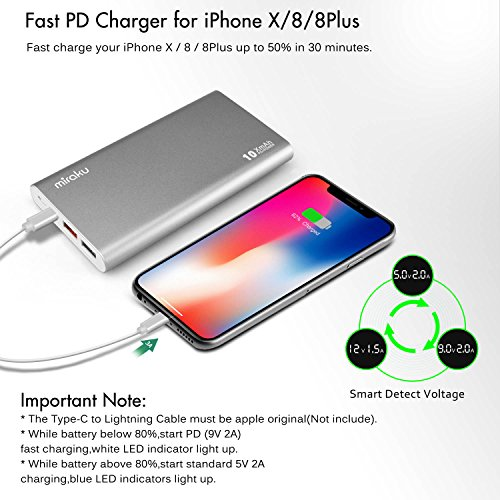 USB C electric power Bank miraku 10000mAh PD30QC30 mobile Charger along with 18W electric power DeliveryUSB Type C quickly Recharging Battery Backups for iPhone X 8 8PlusSamsungHuaweiNintendo Switch and more Silver External Battery Packs