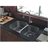 UNBEATABLE DEAL Aquarius Double Bowl Undermount Stainless Steel Kitchen Sink Grid Strainer