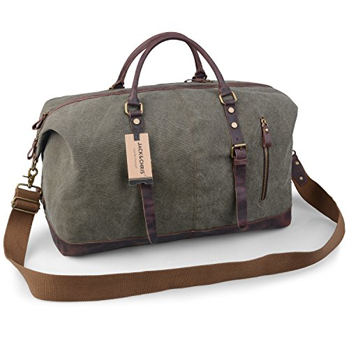 Jack&Chris Oversized Canvas Leather Trim Travel Tote Duffel shoulder handbag Weekend Bag CB1004 – DiZiSports Store