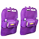 Cinhent Bag 2 PCS New Car Auto Seat Back Multi-Pocket Storage Bag, Waterproof Fabrics Organizer Holder Hanger Pouch, Lightweight & Large Capacity & Portable, Approx 56 CM, (Purple)