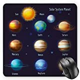 BGLKCS Educational Mouse Pad by, Solar System Planets and The Sun Pictograms Set Astronomical Colorful Design, Standard Size Rectangle Non-Slip Rubber Mousepad, Multicolor
