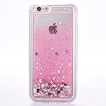 iPhone 6s plus case, Myckuu Soft TPU Liquid, Cool Quicksand Moving Stars Bling Glitter Floating Dynamic Flowing Case Liquid Cover for Iphone 6 plus (love+pink)