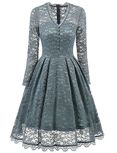 HUINI Damen Spitzenkleid Retro Kleider 50er Jahre Vintage Rockabilly ...