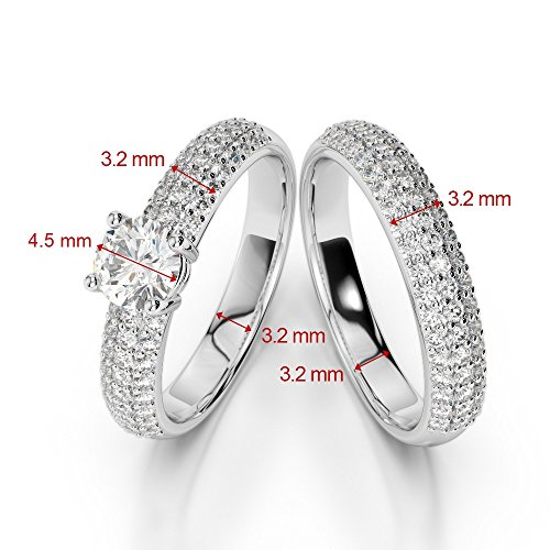 G-H/VS 1/2ct Coupe ronde sertie de diamants Saphir et diamants blancs et bague de fiançailles en platine 950Agdr-1152