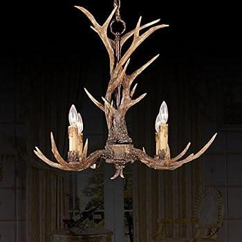 EFFORTINC Vintage Style Resin Antler Chandelier 4 Lights,Living  Room,Bar,Cafe, Dining Room, Bedroom,Study,Villas,American Retro Deer Horn  Pendant Lights