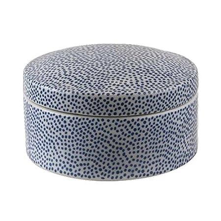 Better & Best Caja Redonda Grande Moderno, Color Azul, Cerámica, 13.00x13.00x7.00 cm