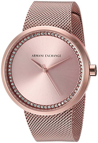Armani Exchange Women's AX4503  Rose Gold Mesh Band Watch (Armani Watch Stainless Steel compare prices)