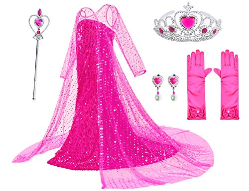 Luxury Princess Dress for Aurora Costumes with Shining Long Cap Girls Birthday Party 5T 6T