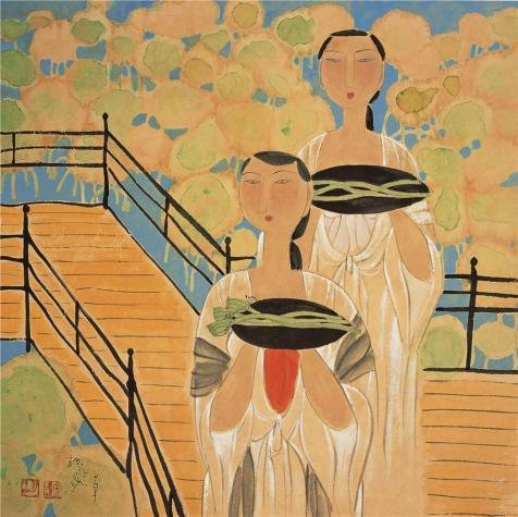 Oil Painting 'Hu Yongkai,The Faint Scent Of Lotus,21th Century' 18 x 18 inch / 46 x 46 cm , on High Definition HD canvas prints is for Gifts And Basement, - Hours Napa Outlets