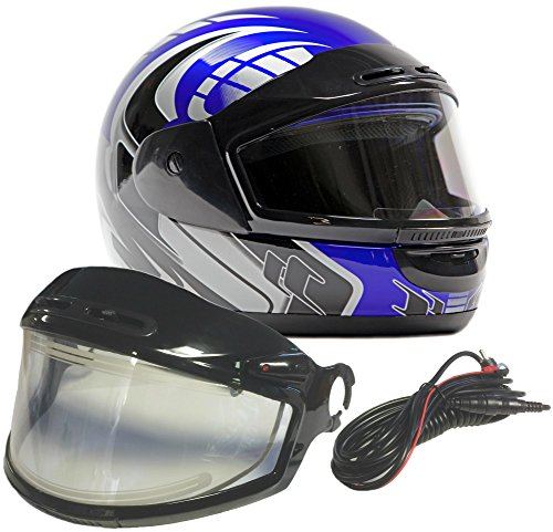Typhoon Helmets Adult Snowmobile Helmet with Electric Heated Shield Mens Womens Full Face Dual Lens - Blue ( XXL )