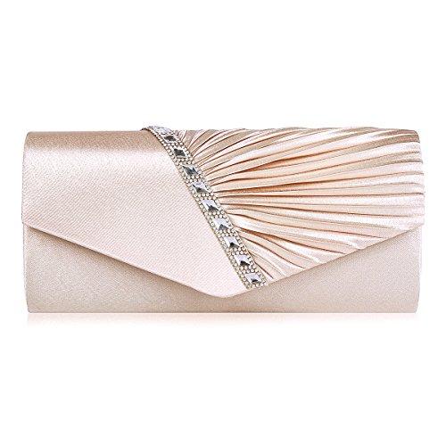 Damara - Bolso de embrague de satén para mujer, diseño plisado champán