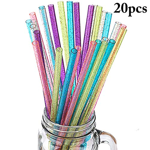 - JUSTDOLIFE 20PCS Drinking Plastic Straw Decorative Glitter Party Favors Straw Reusable Straw