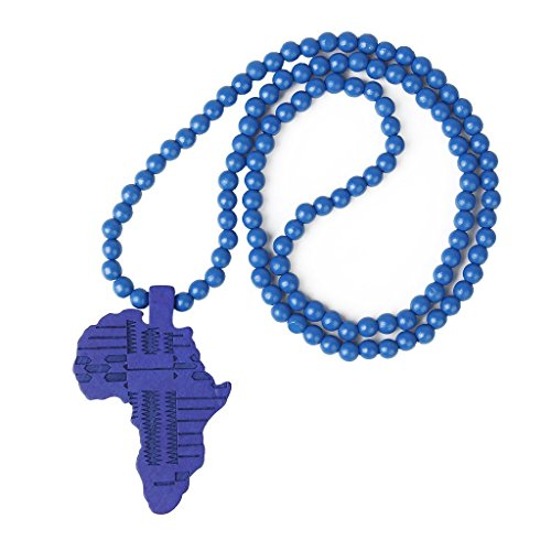 Blue Bead Necklace w/ African Map Pendant