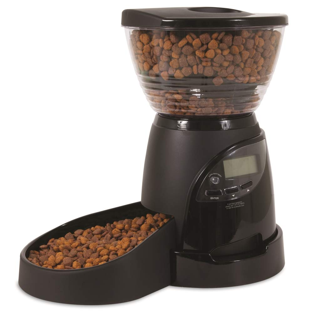Aspen Pet Lebistro Programmable Cat and Dog Feeder 2 Sizes Black by Petmate