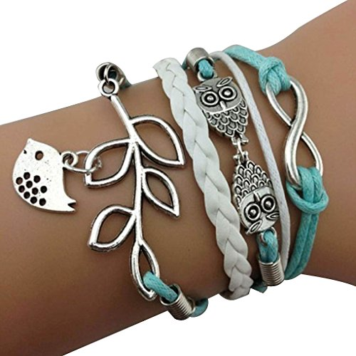 Creazy® Vintage Handmade Infinity Silver 8 Owl Leaf Bird Leather Bracelet Wristband New