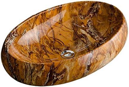 BoPin (タップなし)バスルームの洗面台、楕円形のセラミックカウンター流域模造大理石の家庭の洗面化粧台、単一流域、61X43.5X4.5cm ベッセルシンクシンク (Size : 61X43.5X4.5cm)