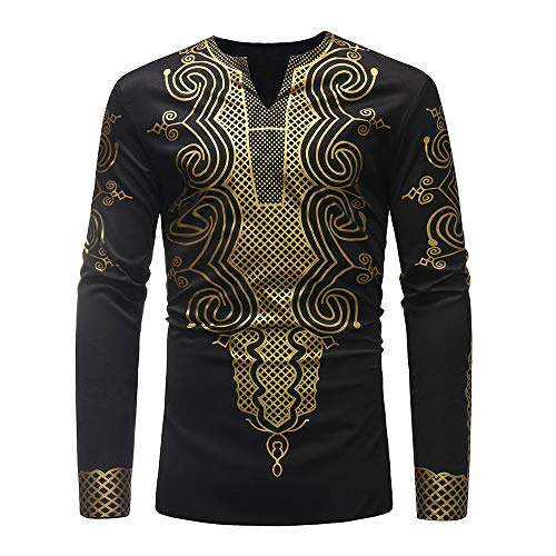 iZHH Mens Luxury African Print Autumn Winter Long Sleeve Dashiki Shirt Blouse(A-Black,2XL)