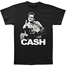 Johnny Cash Flipping the Bird Finger Black Adult T-shirt Tee