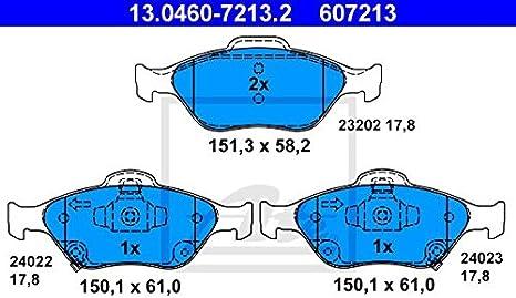 ATE 13.0460-7213.2 4x Bremsbel/äge vorne