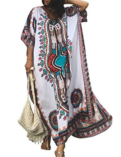 - Ailunsnika Women Rayon White Swimsuits Cover Up Loose V Neck Batwing Sleeve Ethnic Print Caftan Beachwear Dress