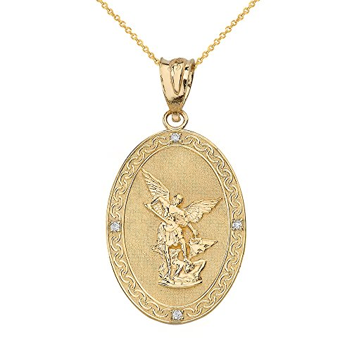 14k Gold Saint Michael The Archangel Diamond Oval Medal Necklace (1