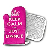 Nuytzs90sd Keep Calm and Just Dance Stage Disco Ball Oven Mitts Cooking Gloves 480 F Heat Resistant, Non Slip Grip Pot Holders for Kitchen Oven BBQ Grill and Fire Pits for Cooking Baking