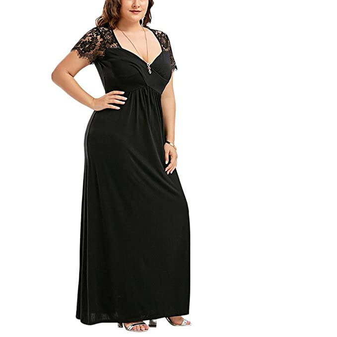 Plus Size Dress, Misaky Lace Long Dress for Evening Party Prom Gown Formal Dress XL