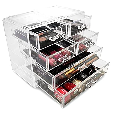 Sorbus® Acrylic Cosmetics Makeup and Jewelry Storage Case Display- 2 Large and 4 Small Drawers Space- Saving, Stylish Acrylic Bathroom (Acrylic Boxes Small)