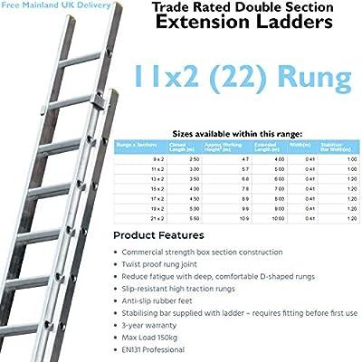 Escalera extensible de aluminio de 3 m - 5 m con doble sección y patas estabilizadoras - 22 peldaños - Construcción de metal ligero - Patas y peldaños antideslizantes - Escalera de