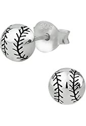 .925 Sterling Silver Hypoallergenic Baseball or Softball Stud Earrings for Girls (Nickel Free)