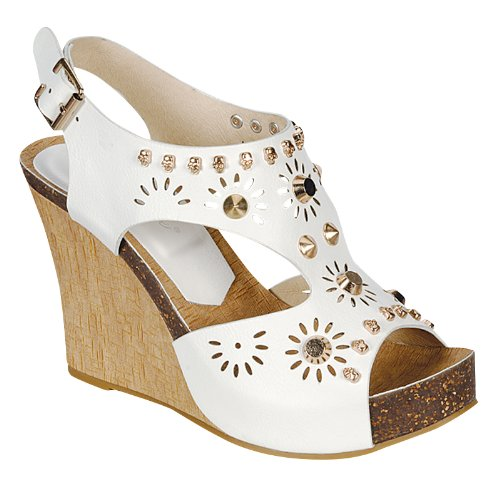 Reneeze CALM-02 Women's Studded Wedge Sandals- White, Size 7.5