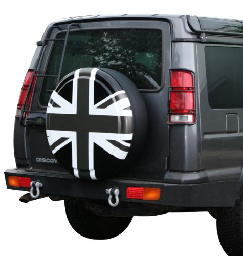 35'' Rigid Tire Cover - (Hard Plastic Face & Vinyl Band) - Pewter Union Jack by Boomerang (Image #3)