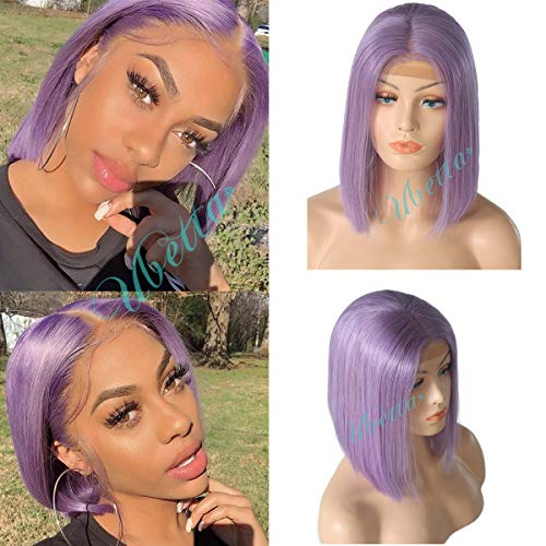 Short Bob Wig Lilac 13x6 Deep Part Lace Front Straight Human Hair Wig Pre Plucked Bleached Knots Brazilian Virgin Hair Glueless Lace Bob Wig for Black Women 150% Density Colored Bob Wig 14 Inch -