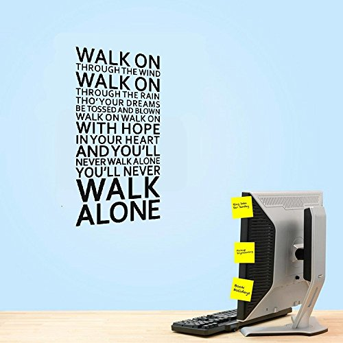 vbcvq Bedroom Sticker Wall Decor Adults Home Room Team Lyrics Quotes Alone You`ll Song Walk Never ()