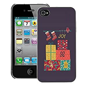 A-type Arte & diseño plástico duro Fundas Cover Cubre Hard Case Cover para iPhone 4 / 4S (Charismas Decorations Grey Winter)