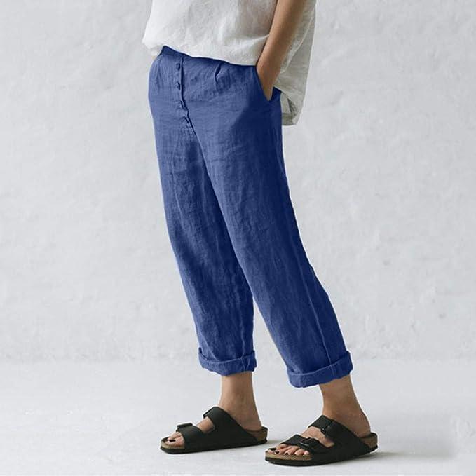 Risthy Pantalones De Lino Tallas Grandes Holgados Recto Pantalon Largo Mujer Casual Con Botones Ideal Para Verano Amazon Es Ropa Y Accesorios
