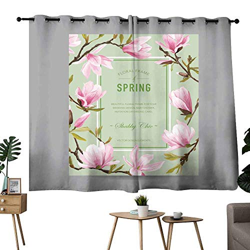 Mannwarehouse Decor Curtains Vintage Floral Colorful Frame - for Invitation Wedding Baby Shower Darkening and Thermal Insulating 55