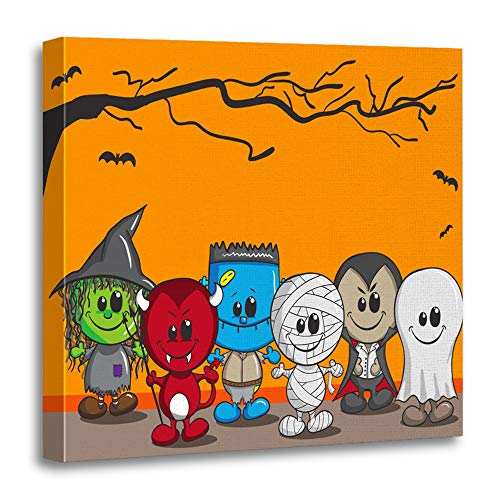 Emvency Canvas Prints Square 12x12 Inches Orange Fun