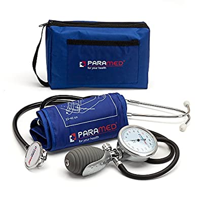 Aneroid Sphygmomanometer with Dual Head Stethoscope and Carrying Case by Paramed - Professional Manual Blood Pressure Cuff - Lifetime Calibration for Guaranteed Accuracy(Dark Blue)