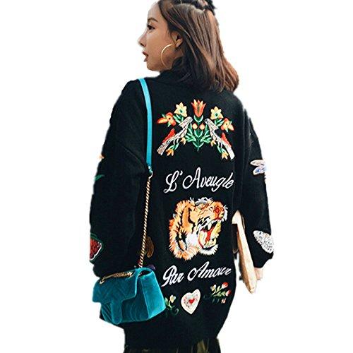 Central Eleven 新しい女性刺繍ジャケット女性蝶の花セータータイガーヘッド刺繍花ロングカーディガンセーターコート