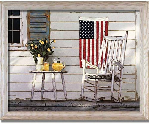Fourth Of July American Flag Front Porch Framed Print