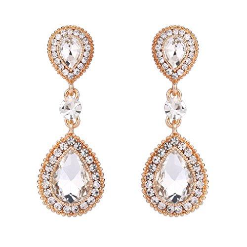 BriLove Wedding Bridal Dangle Earrings for Women Crystal Teardrop Infinity Figure 8 Earrings Clear Gold-Toned
