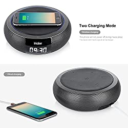 Haier Bluetooth 4.0 Speakers, Hifi Speaker with 5W Enhanced Bass, Dual Channel Stereo,Wireless Charger PowerPort Qi Wireless Charging Pad for Nexus, Nokia, LG, HTC and All Qi-Enabled Devices(Gray)