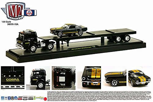 1964 FORD C-950 (BLACK) & 1966 SHELBY GT350H (15-03) * Auto-Haulers Release 15 * M2 Machines 2015 Castline Premium Edition 1:64 Scale Die-Cast Vehicle Truck & Set (1964 Ford Pickup)