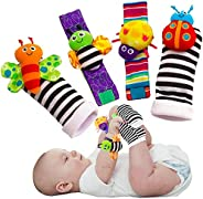 JFAN Baby Wrist Rattle Foot Finder Socks Plush Stuffed Newborn Toys for Infant