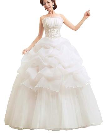 Femmes Robes De Mariee Princesse Robes De Soiree Maxi Robe De Mariage En De Bal Sans Bretelle