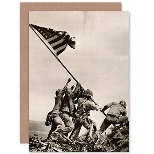 Price comparison product image Wee Blue Coo New WAR WWII IWO JIMA Stars Stripes Flag Propaganda Blank Greetings Card CP1424