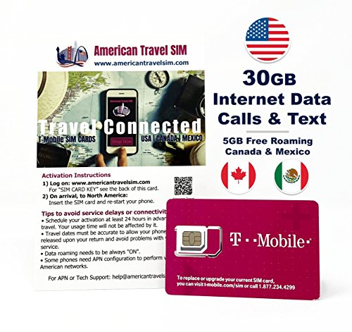 Prepaid SIM Card - 30GB Internet Data for USA, 5GB Free