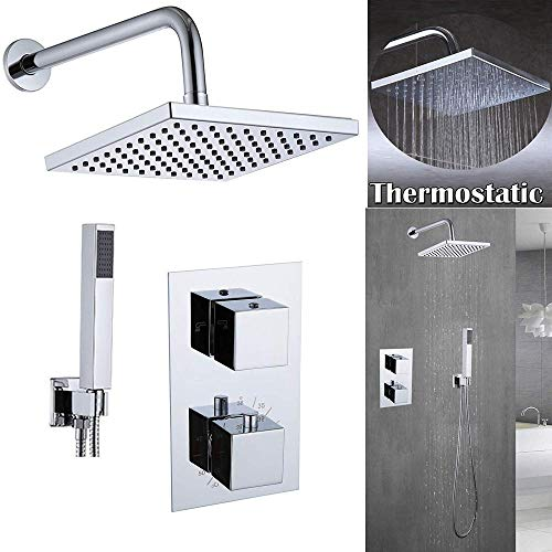 UYKIKUI Shower System Wall Mounted Set Concealed Faucet Brass Switch Thermostatic Mixer Valve + 8