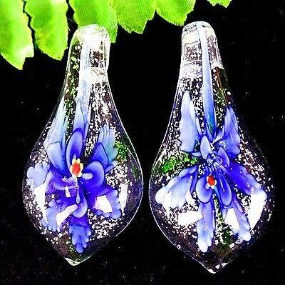 FidgetFidget Beautiful 2Pcs Blue Lampwork Glass Pipa Flower Pendant Bead AT16839